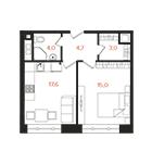 апартамент с 1 спальней